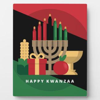diagonal stripe Happy Kwanzaa Plaque