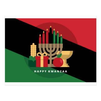 diagonal stripe Happy Kwanzaa Postcard