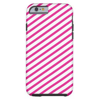Diagonal Stripe Hot Pink Pattern Tough iPhone 6 Case