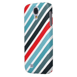 Diagonal Stripe Pattern Red and Blue Striped Galaxy S4 Cases
