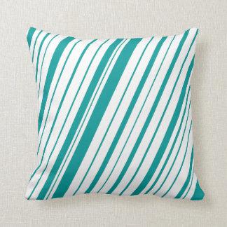 Diagonal Stripe ~ Teal Pillow