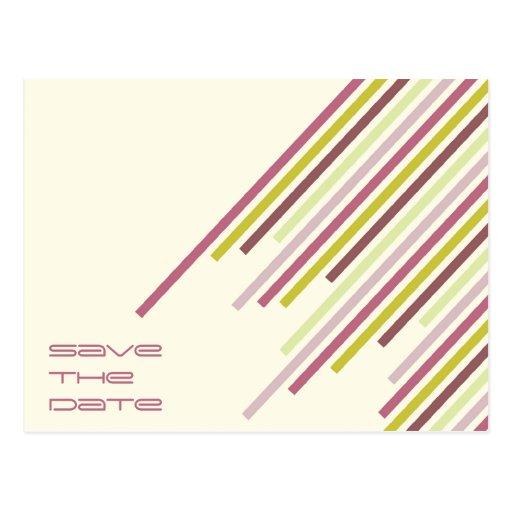 Diagonal Stripes   02 * Party Invitation Postcard