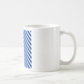 Diagonal Stripes 2 - Pale Blue and Navy Blue Coffee Mugs