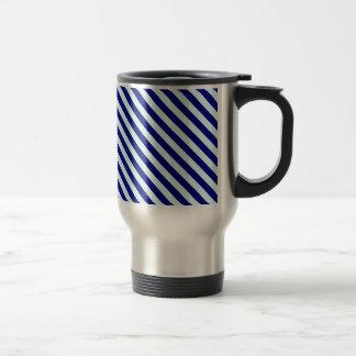 Diagonal Stripes 2 - Pale Blue and Navy Blue Coffee Mugs