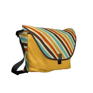 Diagonal Stripes 4 Retro Colors Blue Yellow Red Messenger Bag