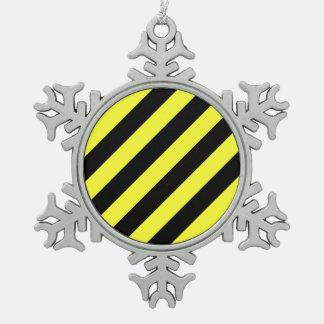 diagonal stripes black and yellow pewter snowflake decoration