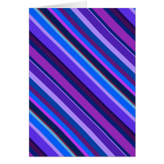 Diagonal stripes in blue and purple card