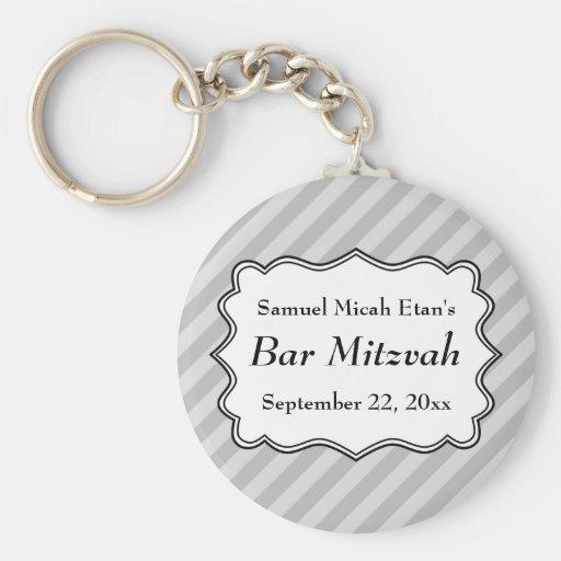 Diagonal Stripes in Gray Bar Mitzvah Keychain