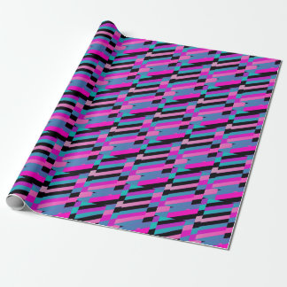 Diagonal stripes in winter harlequin colors wrapping paper