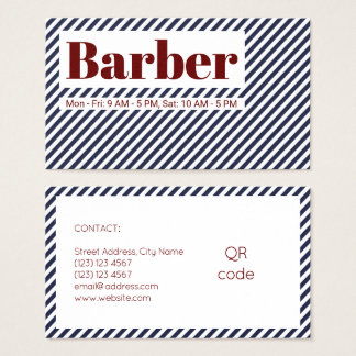 Diagonal stripes lines pattern blue red white business card