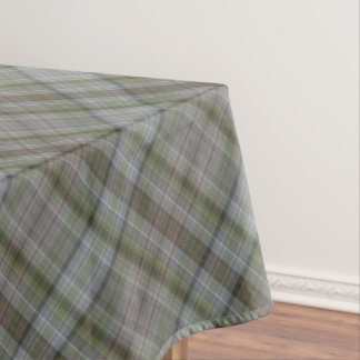 Diagonal stripes of grey green tablecloth