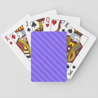 Diagonal Violet Purple Stripes Playing Cards