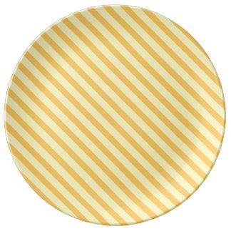 Diagonal yellow orange Stripes Porcelain Plate