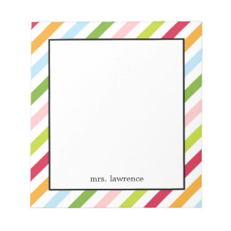 Diagonally Chic Personalized Notepad