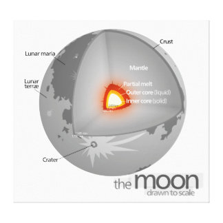 Diagram of the Internal Structure of Earth's Moon Stretched Canvas Print