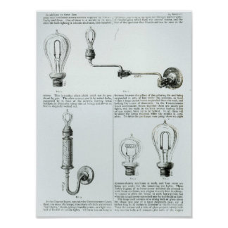 Diagrams of lightbulbs and their brackets poster