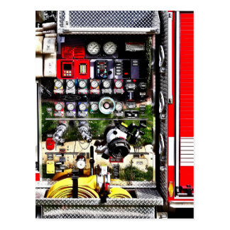 Dials and Hoses on Fire Truck Postcard