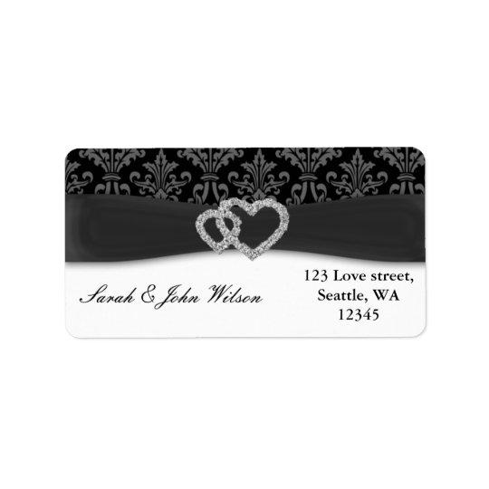 diamante damask charcoal wedding label