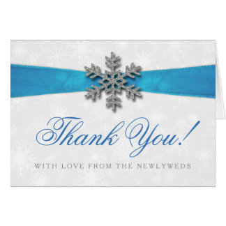 Diamante Snowflake & Blue Ribbon Winter Wedding Card