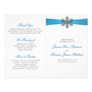 Diamante Snowflake & Blue Ribbon Winter Wedding Flyer