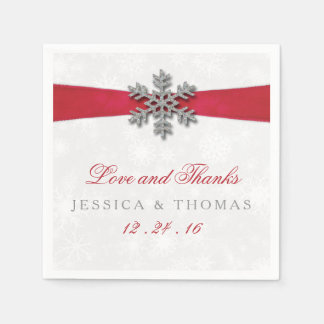 Diamante Snowflake & Red Ribbon Winter Wedding Paper Napkins