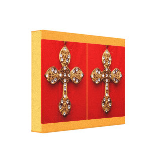 Diamon Cross Jewels Stretched Canvas Print