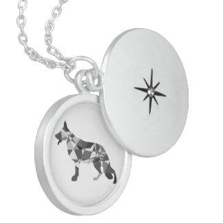 Diamon German Shepherd Round Locket Necklace