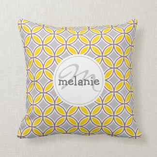 Diamon leaves gold and gray throw cushion