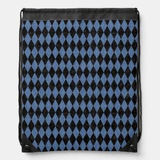DIAMOND1 BLACK MARBLE & BLUE DENIM DRAWSTRING BAG