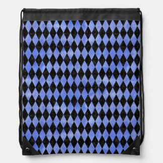 DIAMOND1 BLACK MARBLE & BLUE WATERCOLOR DRAWSTRING BAG
