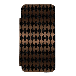 DIAMOND1 BLACK MARBLE & BRONZE METAL INCIPIO WATSON™ iPhone 5 WALLET CASE