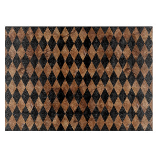DIAMOND1 BLACK MARBLE & BROWN STONE CUTTING BOARD