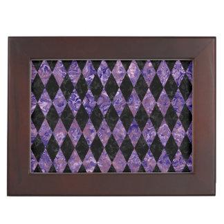 DIAMOND1 BLACK MARBLE & PURPLE MARBLE KEEPSAKE BOX