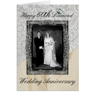 Diamond 60th Wedding Anniversary Elegant Greeting Card