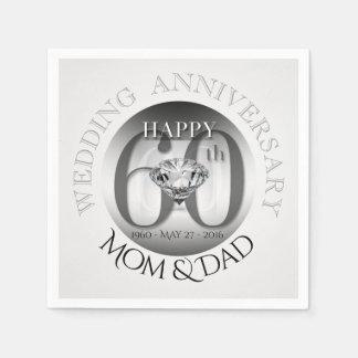 Diamond 60th Wedding Anniversary Paper Napkins