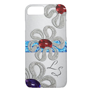 Diamond and Gem Encrusted Flowers - Monogrammed iPhone 8/7 Case