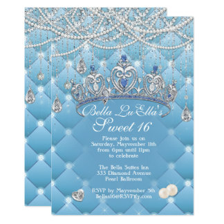 Diamond and Pearls Birthday Party Invitations