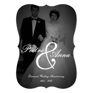 Diamond Anniversary with Vintage Me | Bracket Edge 13 Cm X 18 Cm Invitation Card