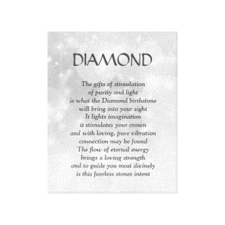 Diamond birthstone - April poem art canvas