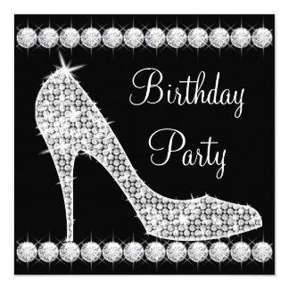 Diamond Black High Heel Shoe Birthday Party Card