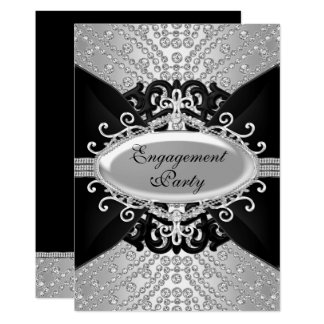 Diamond Black & Silver Engagement Party Invite