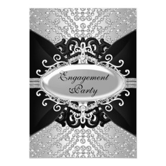 Diamond Black & Silver Engagement Party Invite