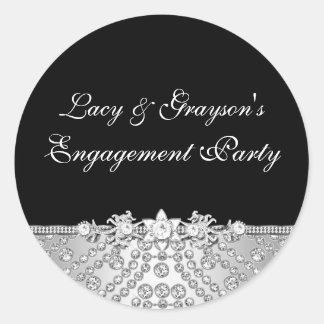 Diamond Black & Silver Engagement Party Sticker