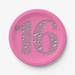 Diamond Bling 16 Sixteen 16th Birthday ANY COLOR Paper Plate