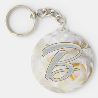 Diamond Bling B Basic Round Button Key Ring