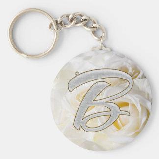 Diamond Bling B Basic Round Button Key Ring