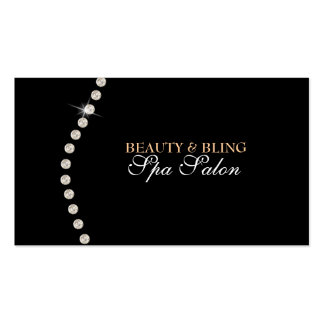 Diamond Bling Beauty Black Spa Salon Business Card