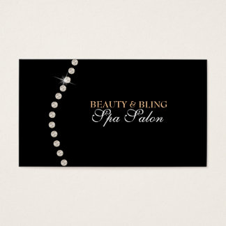 Diamond Bling Beauty Black Spa Salon Business Card