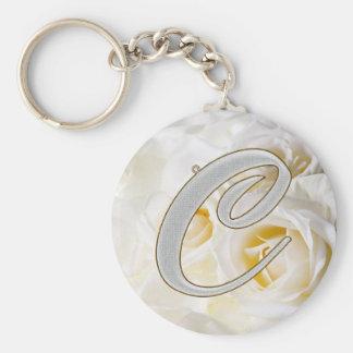 Diamond Bling C Basic Round Button Key Ring