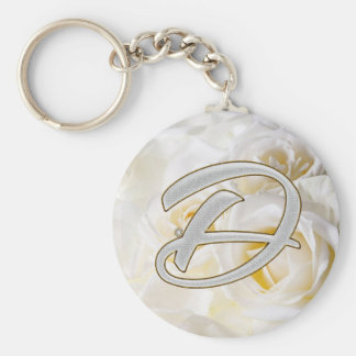 Diamond Bling D Basic Round Button Key Ring